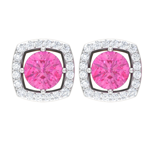 1.5 CT Pink Sapphire and Moissanite Halo Stud Earrings for Women