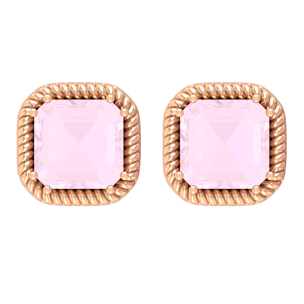 5X5 MM Asscher Cut Rose Quartz and Gold Twisted Rope Solitaire Earrings