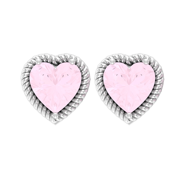 5X5 MM Heart Shape Rose Quartz Solitaire Stud Earrings in 3 Prong Setting with Twisted Rope Frame