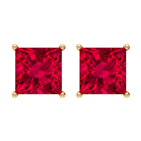 4 MM Classic Princess Cut Ruby Solitaire Stud Earrings