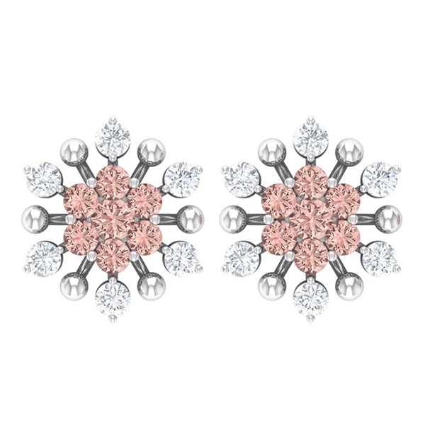 Cluster Stud Earrings with 0.50 CT Created Morganite and Diamond