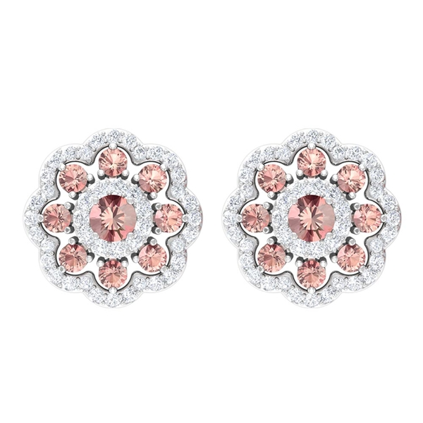 Cluster Stud Earrings with 0.75 CT Created Morganite and Diamond