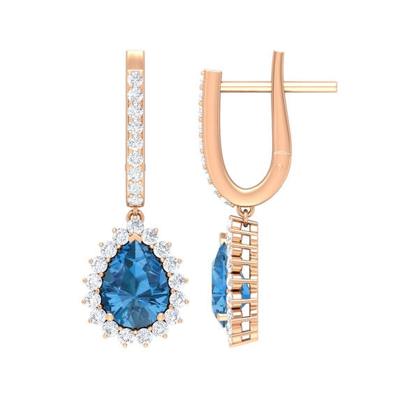 Teardrop Earrings with 3 CT Created Arctic Blue Sapphire and Moissanite