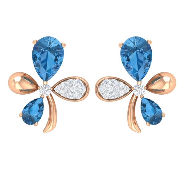 Floral Stud Earrings with 1.50 CT Created Arctic Blue Sapphire and Diamond