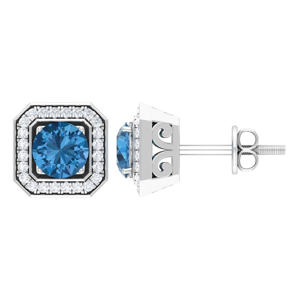Stud Earrings with 1.50 CT Created Arctic Blue Sapphire and Diamond