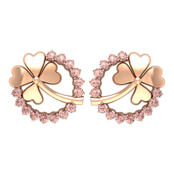 Eternity Stud Earrings with 0.50 CT Created Morganite and Gold Floral Design