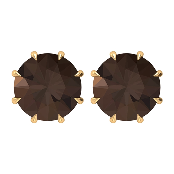June Birthstone 8 MM Simple Smoky Quartz Solitaire Gold Stud Earrings for Women