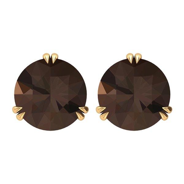 June Birthstone 8 MM Claw Set Antique Smoky Quartz Solitaire Valentine's Day Special Gold Stud Earrings for Women