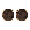 June Birthstone 8 MM Claw Set Smoky Quartz Solitaire Cocktail Gold Stud Earrings for Women