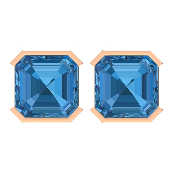 Solitaire Stud Earrings with 5 MM Created Arctic Blue Sapphire