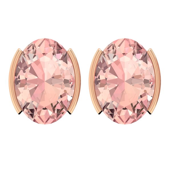 5X7 MM Oval Cut Created Morganite Solitaire Stud Earrings