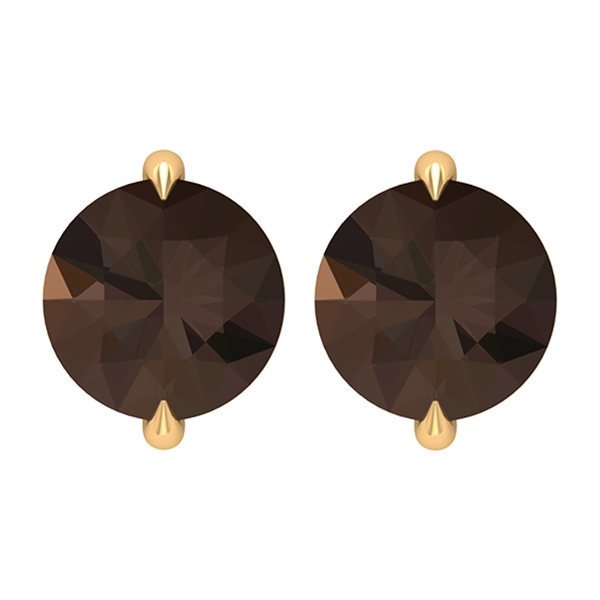 June Birthstone 5 MM Simple Smoky Quartz Solitaire Gold Stud Earrings for Women