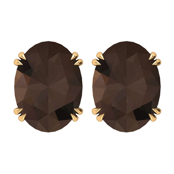 June Birthstone 6X8 MM Claw Set Vintage Oval Cut Smoky Quartz Solitaire Gold Stud Earrings for Women