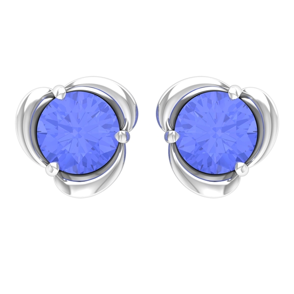 December Birthstone 1 CT Simple Tanzanite Solitaire Floral Stud Earring for Women