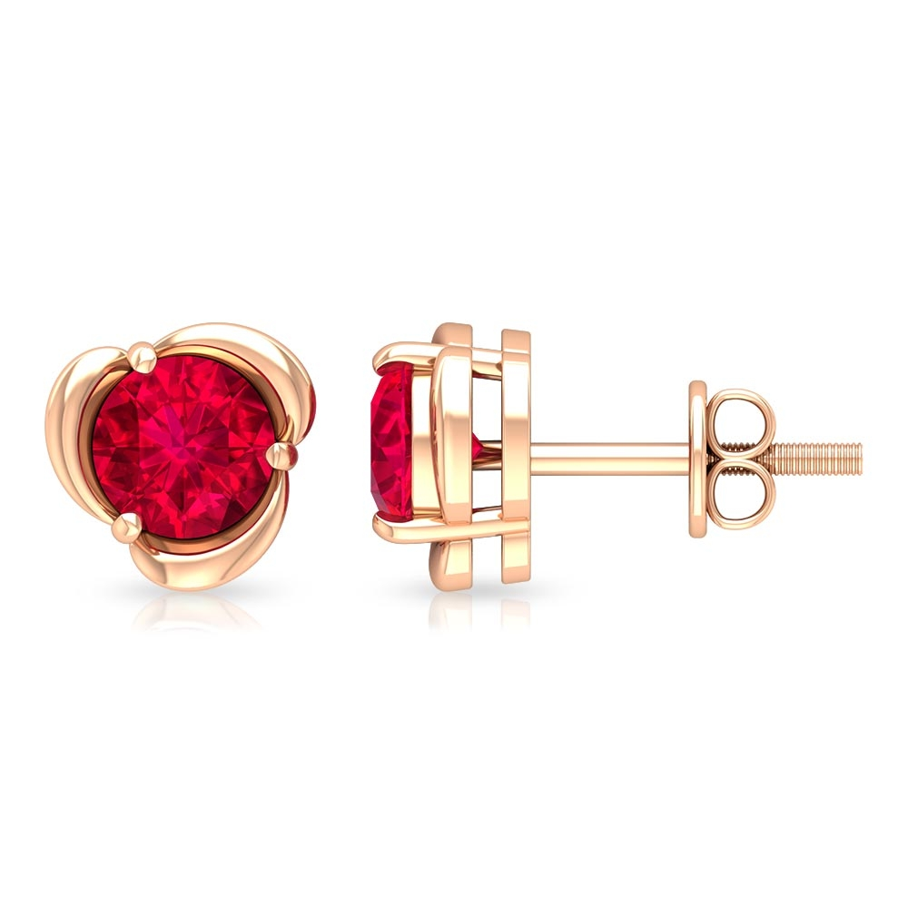 1.25 CT Round Cut Ruby Flower Stud Earrings in 3 Prong Setting