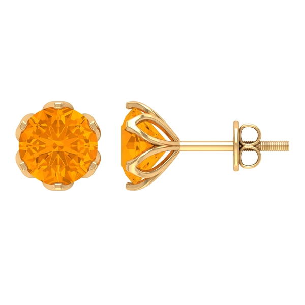 1.75 CT Basket Set lab Created Orange Sapphire Solitaire Floral Stud Earring for Women