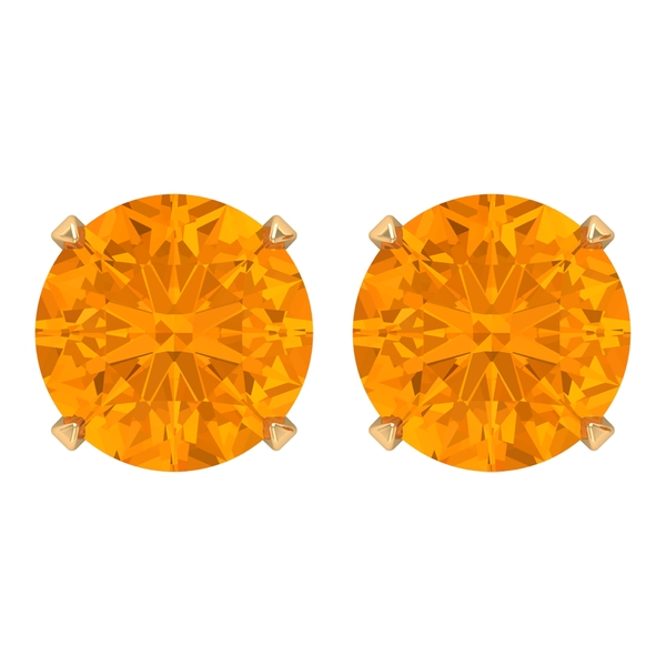 8 MM Created Orange Sapphire Solitaire Stud Earring for Women
