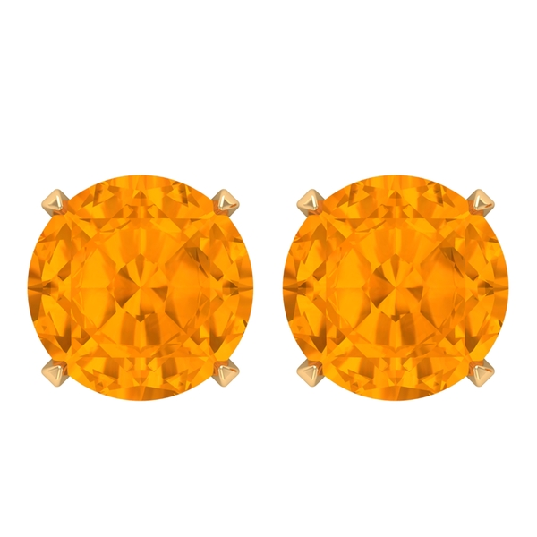 7 MM lab Created Orange Sapphire Solitaire Cocktail Stud Earring for Women