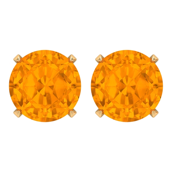 2.75 CT Created Orange Sapphire Solitaire Stud Earrings for Women