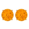 6 MM Created Orange Sapphire Solitaire Stud Earring for Women