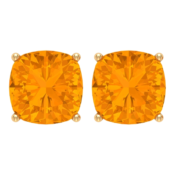 6 MM Cushion Cut Created Orange Sapphire Solitaire Cocktail Stud Earrings for Women
