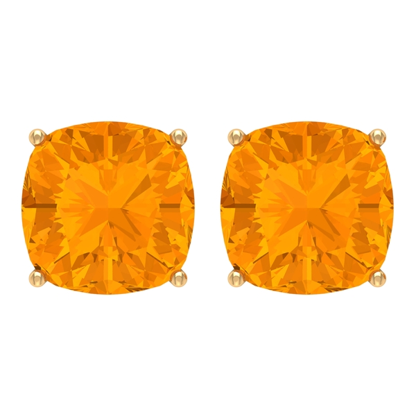 8 MM Cushion Cut Created Orange Sapphire Solitaire Stud Earring for Women
