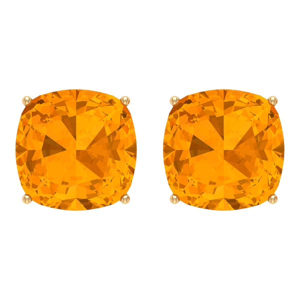 9 MM Cushion Cut Created Orange Sapphire Solitaire Stud Earrings for Women