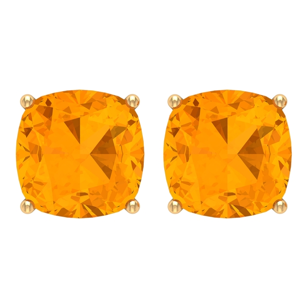 7 MM Cushion Cut Created Orange Sapphire Solitaire Stud Earrings for Women