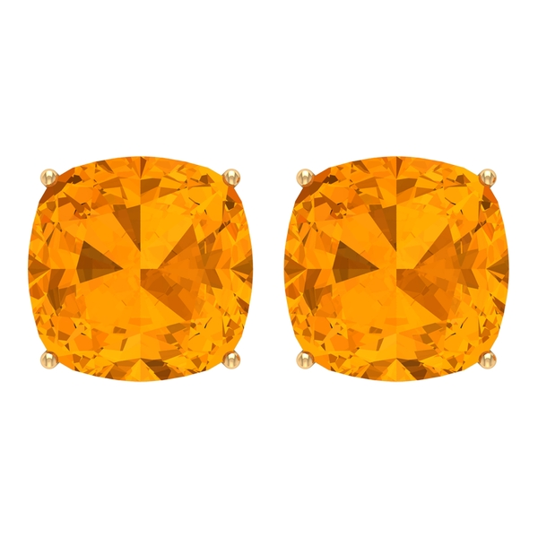 10 MM Cushion Cut Created Orange Sapphire Solitaire Stud Earrings for Women