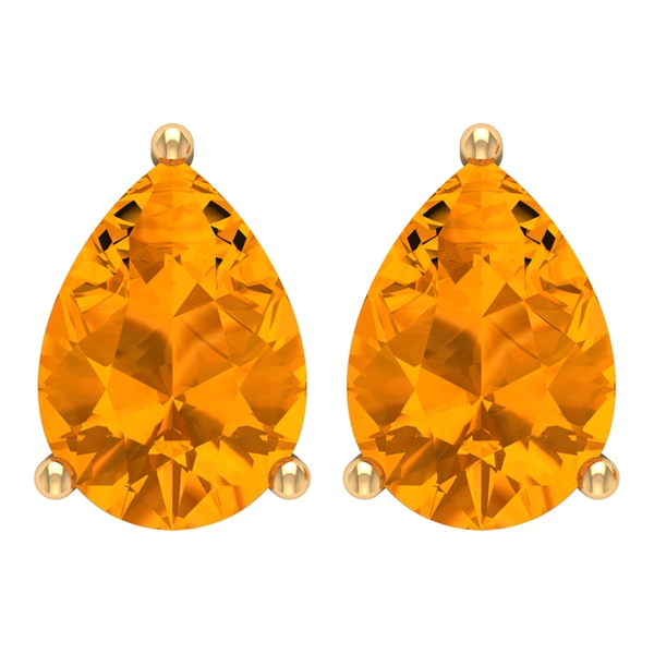 5X7 MM Pear Cut Created Orange Sapphire Solitaire Wedding Stud Earring for Women