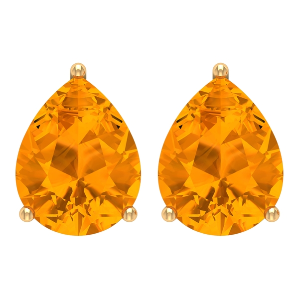 7X9 MM Pear Cut Created Orange Sapphire Solitaire Cocktail Stud Earrings for Women