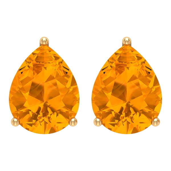 8X10 MM Pear Cut Created Orange Sapphire Solitaire Cocktail Stud Earrings for Women