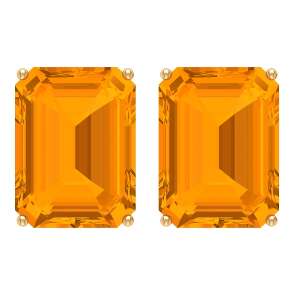 6X8 MM Octagon Cut Created Orange Sapphire Solitaire Stud Earrings for Women