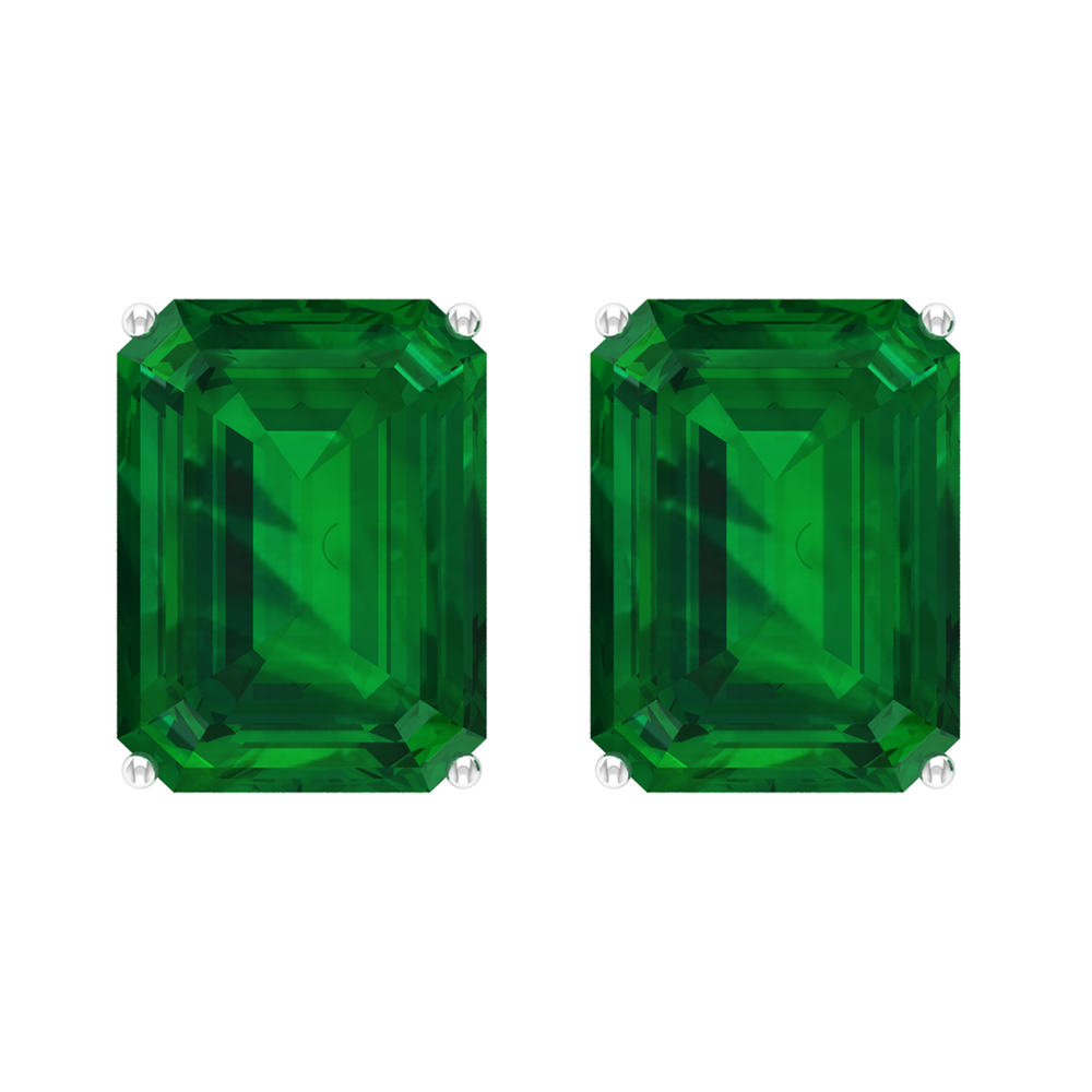 6X8 MM Octagon Cut Emerald Solitaire Stud Earrings in 4 Prong Setting