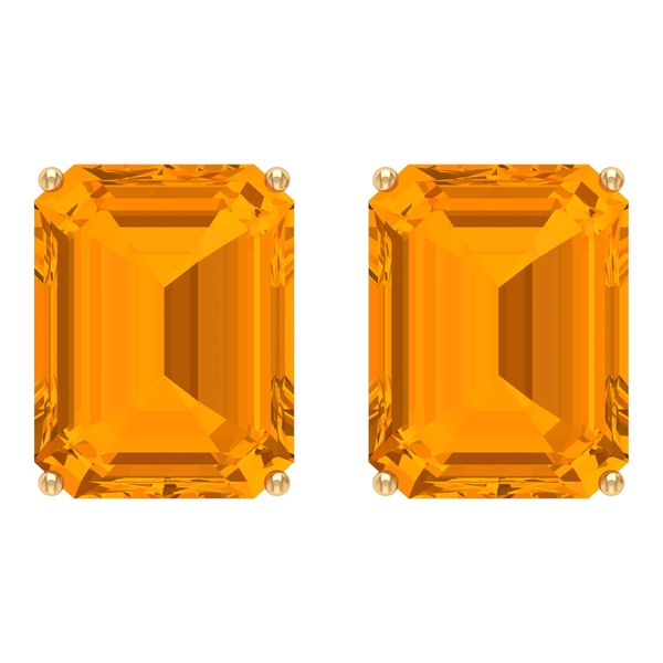 7X9 MM Octagon Cut Created Orange Sapphire Solitaire Cocktail Stud Earrings for Women