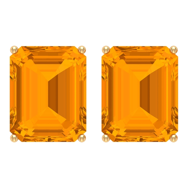 8X10 MM Octagon Cut Created Orange Sapphire Solitaire Cocktail Stud Earrings for Women