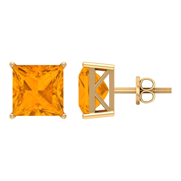 10 MM Princess Cut Created Orange Sapphire Cocktail Solitaire Stud Earrings for Women