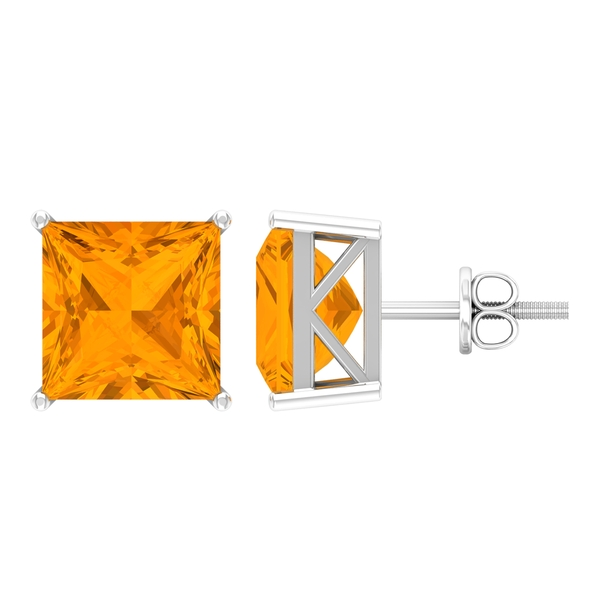 9 MM Princess Cut Created Orange Sapphire Solitaire Cocktail Stud Earrings for Women