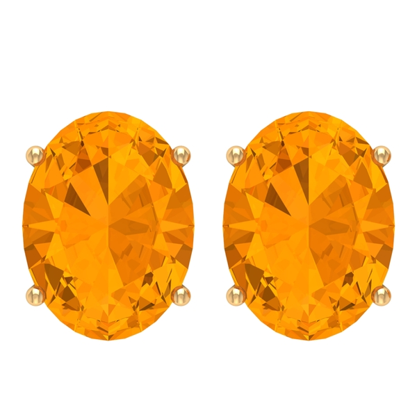 6X8 MM Oval Cut Created Orange Sapphire Solitaire Stud Earrings for Women