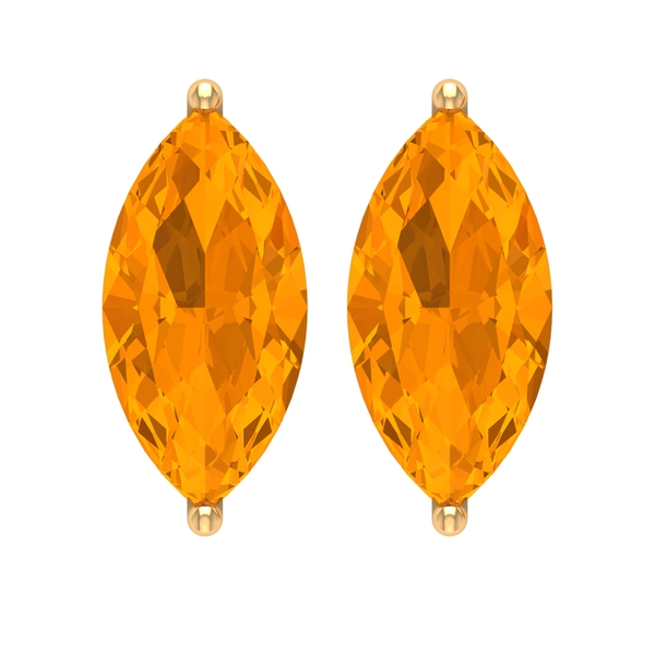 4X8 MM Marquise Cut Created Orange Sapphire Solitaire Stud Earrings for Women