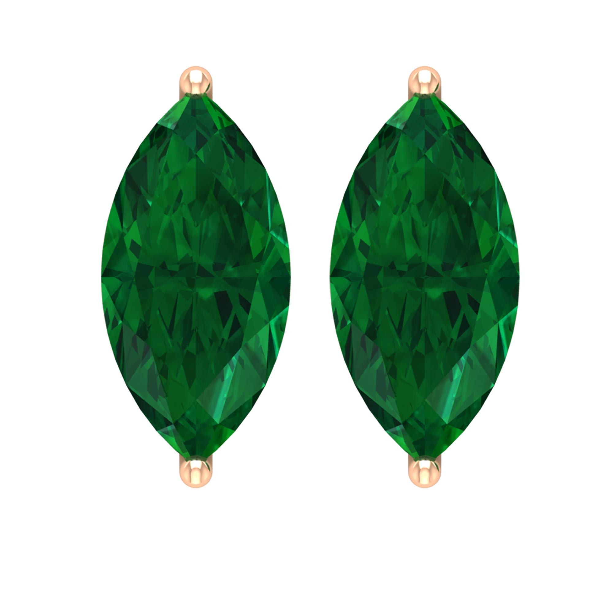 5X10 MM Marquise Cut Emerald Solitaire Stud Earrings in 2 Prong Setting