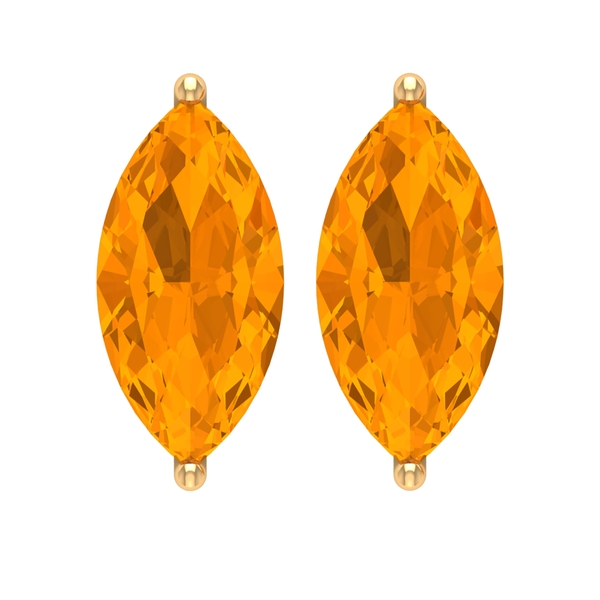5X10 MM Marquise Cut Created Orange Sapphire Solitaire Stud Earrings for Women