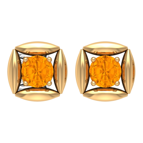 1.25 CT Created Orange Sapphire Solitaire Simple Stud Earring for Women