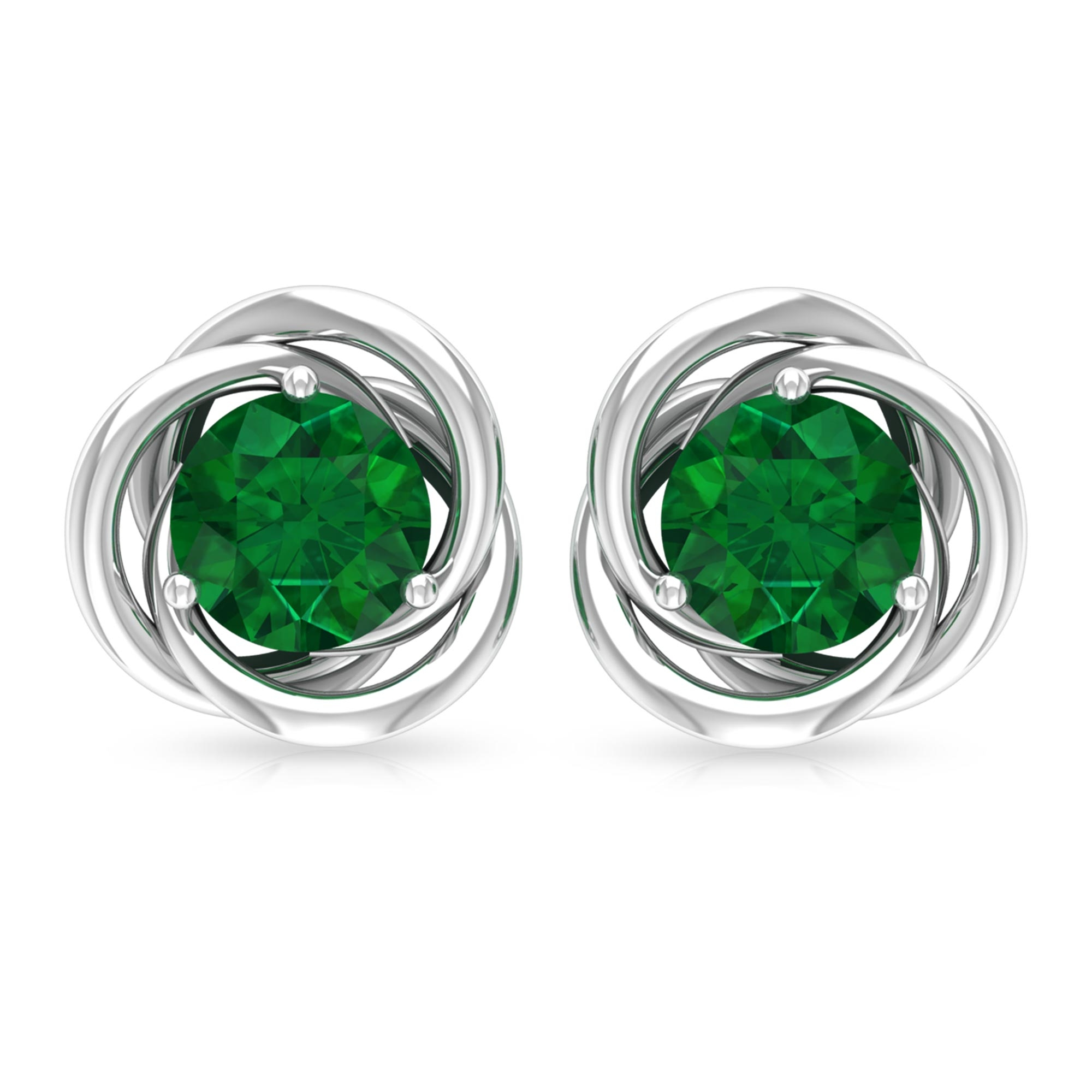1 CT Solitaire Emerald and Gold Swirl Stud Earrings in Prong Setting