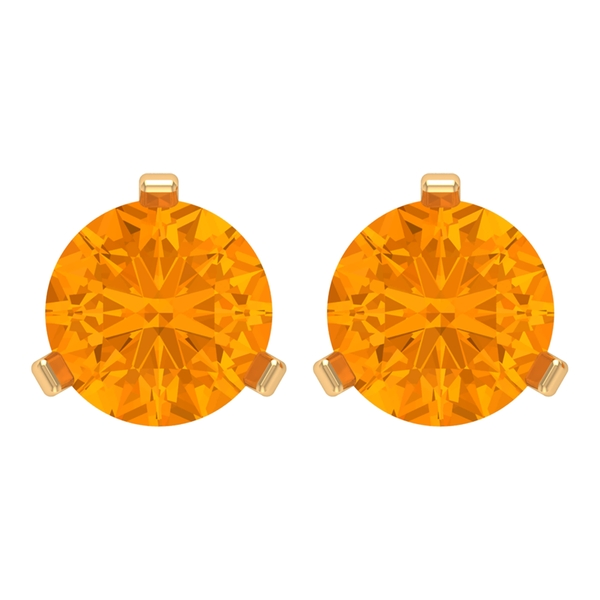 5 MM Martini Set Created Orange Sapphire Solitaire Stud Earrings for Women