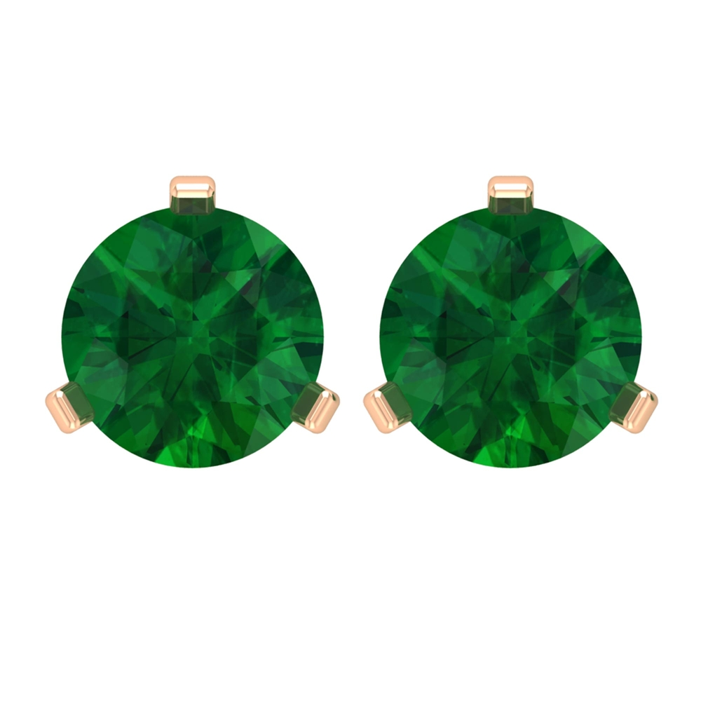 1 CT Emerald Solitaire Stud Earring