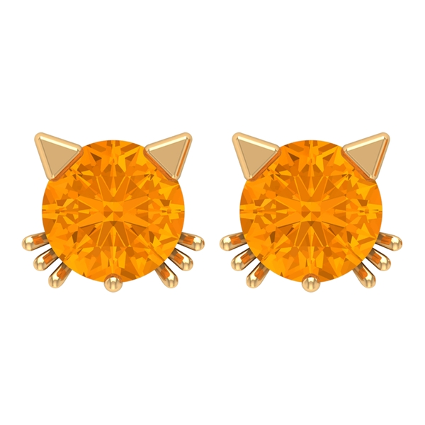 0.50 CT Created Orange Sapphire Solitaire Kitty Stud Earrings for Women