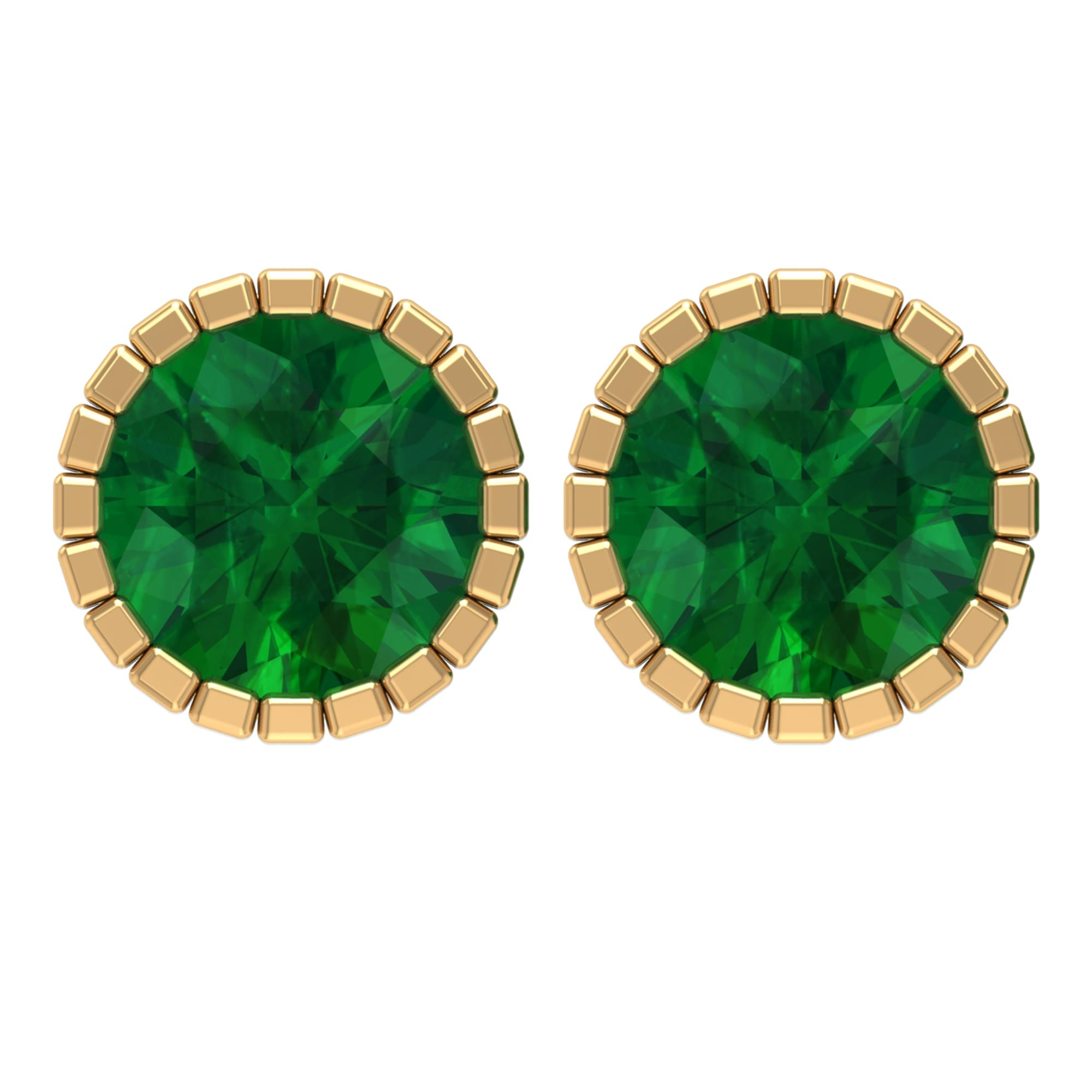 7 MM Round Cut Emerald Solitaire Stud Earrings in Bezel Setting with Milgrain Details