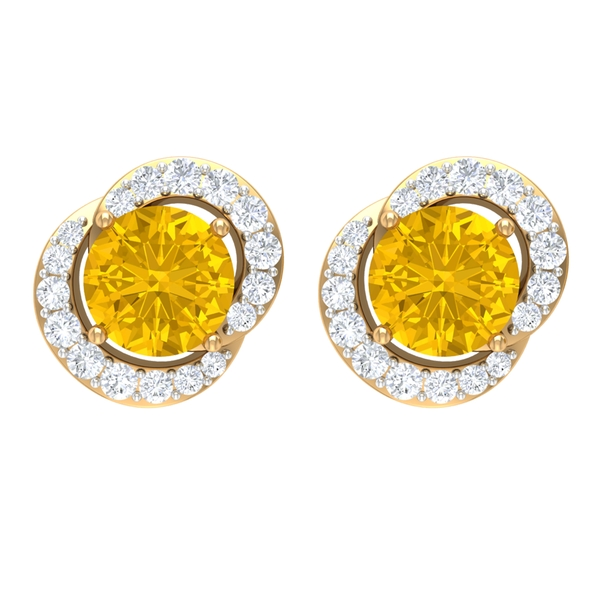 3/4 CT Yellow Sapphire and Diamond Accent Stud Earrings For Women