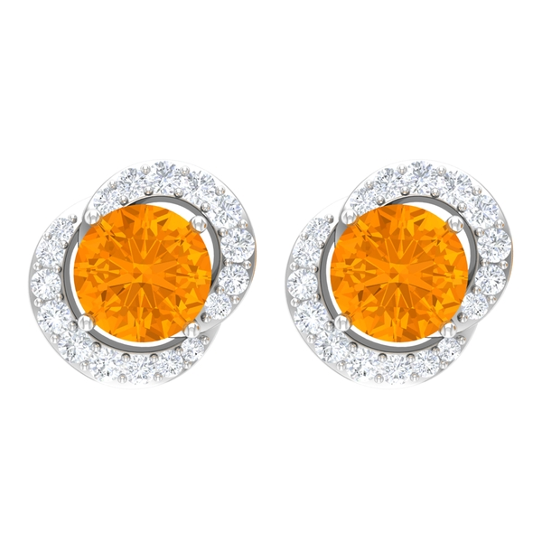 0.75 CT Lab Created Orange Sapphire Solitaire Cocktail Stud Earrings for Women with Diamond Accent